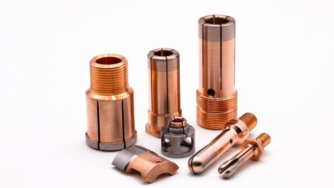Electrical contacts with Copper/Tungsten sintered parts