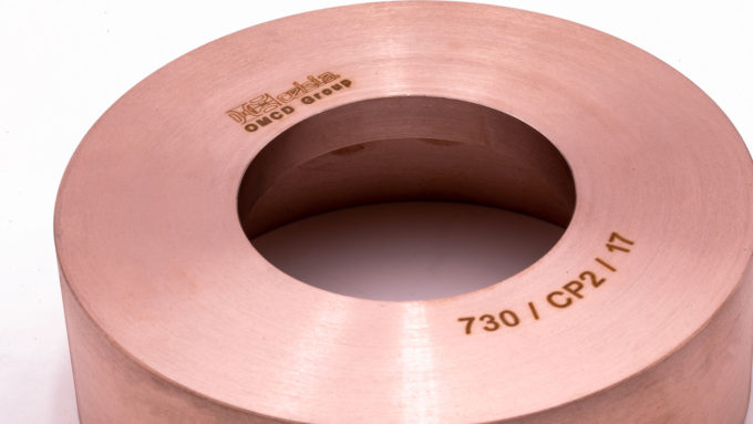 A detail of a copper/tungsten cup, laser marked