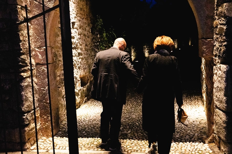 Mr. and Mrs. Tedeschi at the entrance of the Rocca